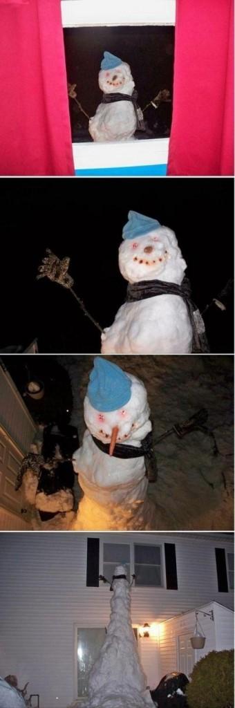 3. Acești părinți care au fost rugați să dea o mână de ajutor la construirea unui om de zăpadă